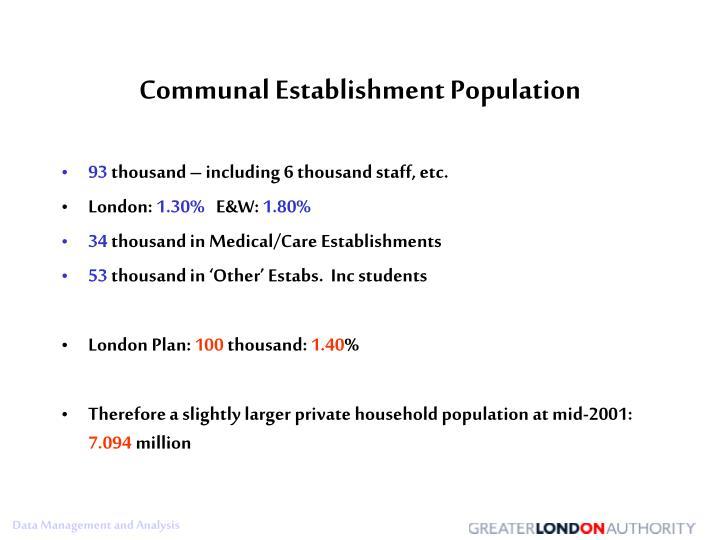 Communal Establishment Population
