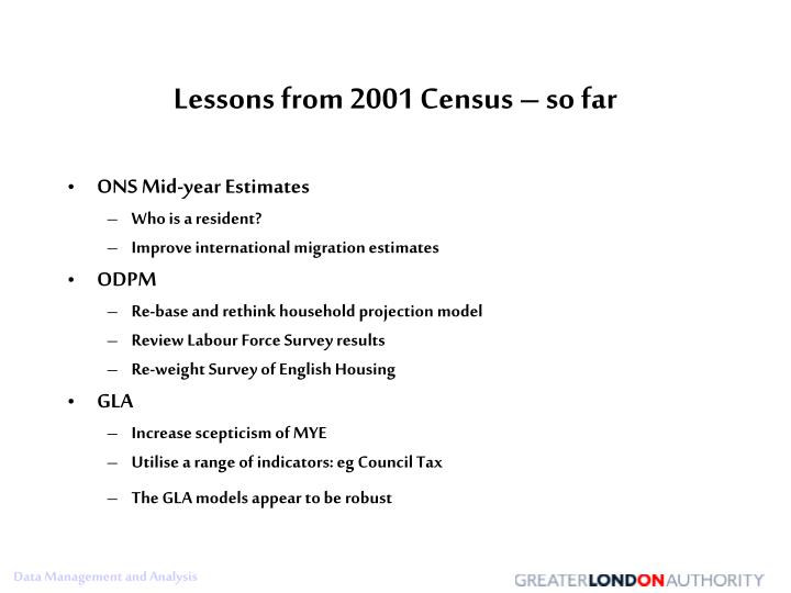Lessons from 2001 Census – so far