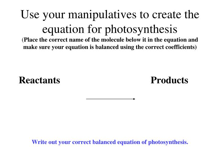 Use your manipulatives to create the equation for photosynthesis