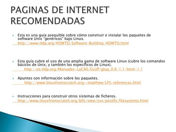 PAGINAS DE INTERNET RECOMENDADAS