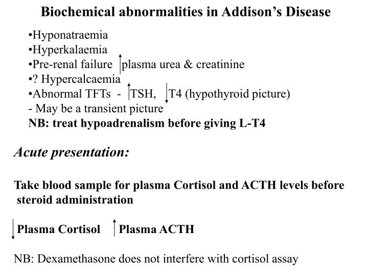 Biochemical abnormalities in Addison's Disease