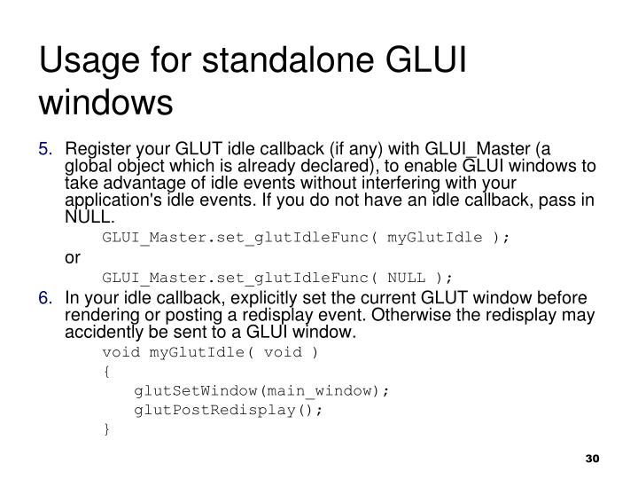 Usage for standalone GLUI windows