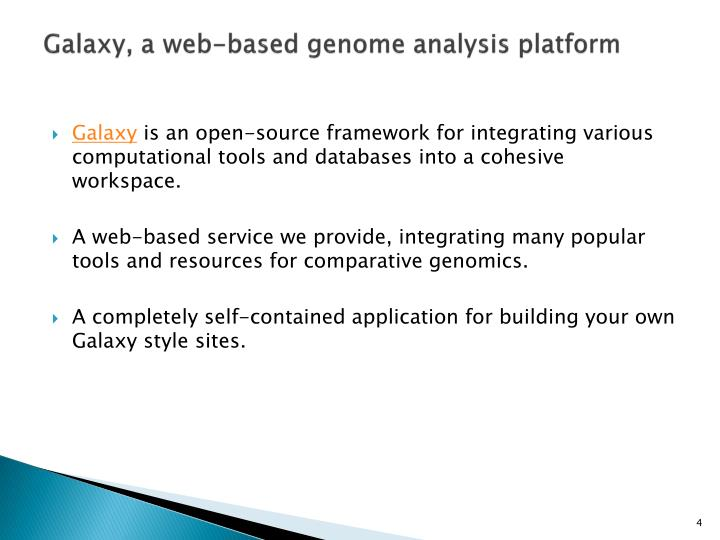Galaxy, a web-based genome analysis platform