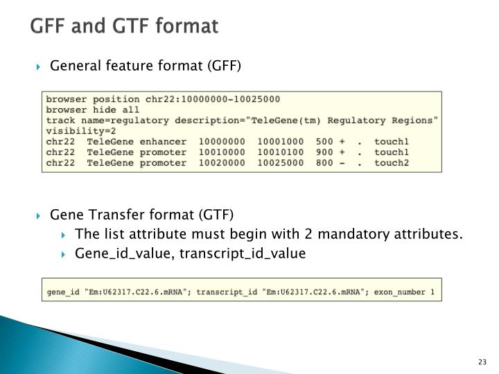 GFF and GTF format