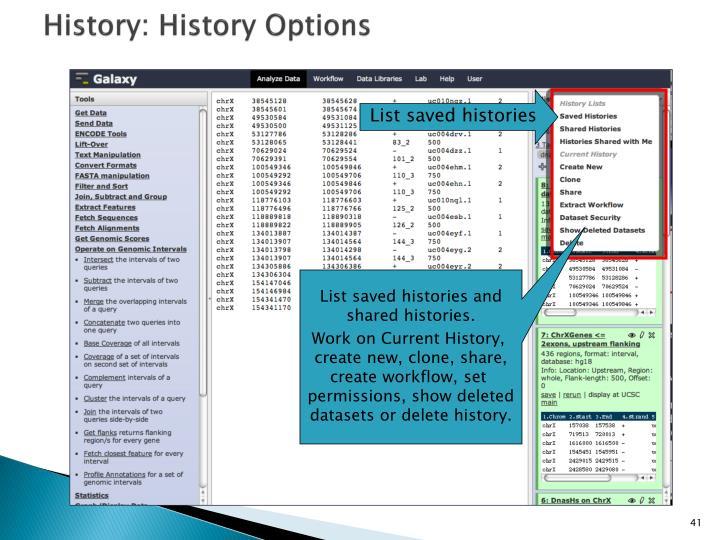 History: History Options