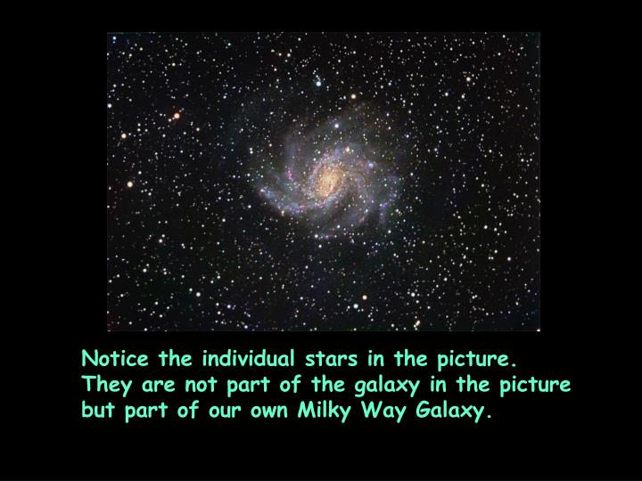 Notice the individual stars in the picture.  They are not part of the galaxy in the picture but part of our own Milky Way Galaxy.