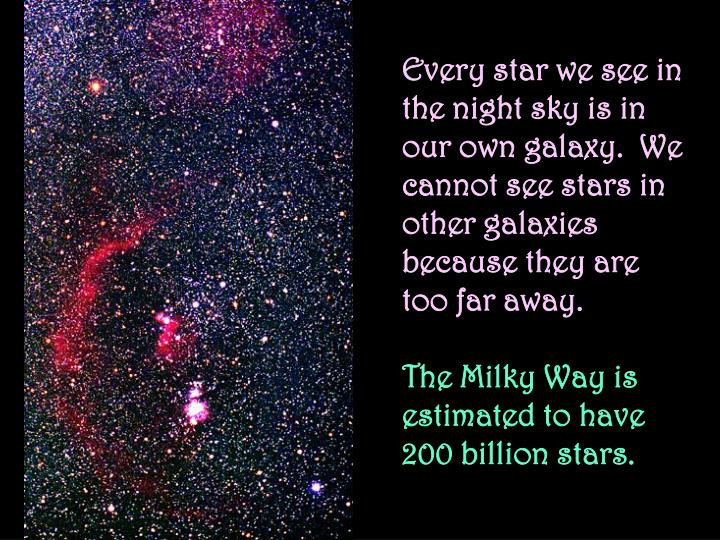 Every star we see in the night sky is in our own galaxy.  We cannot see stars in other galaxies because they are too far away.