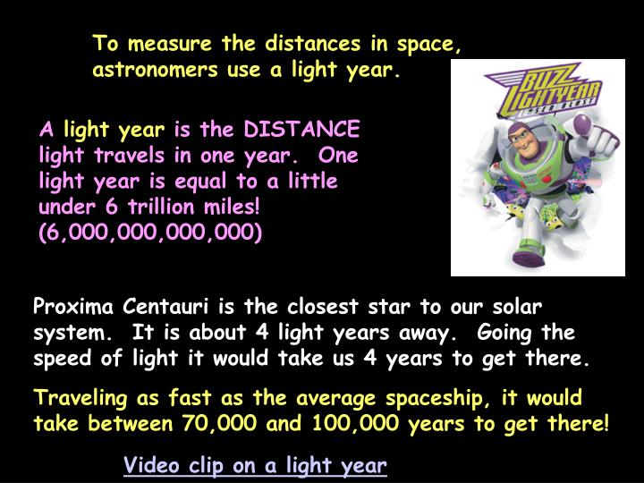To measure the distances in space, astronomers use a light year.