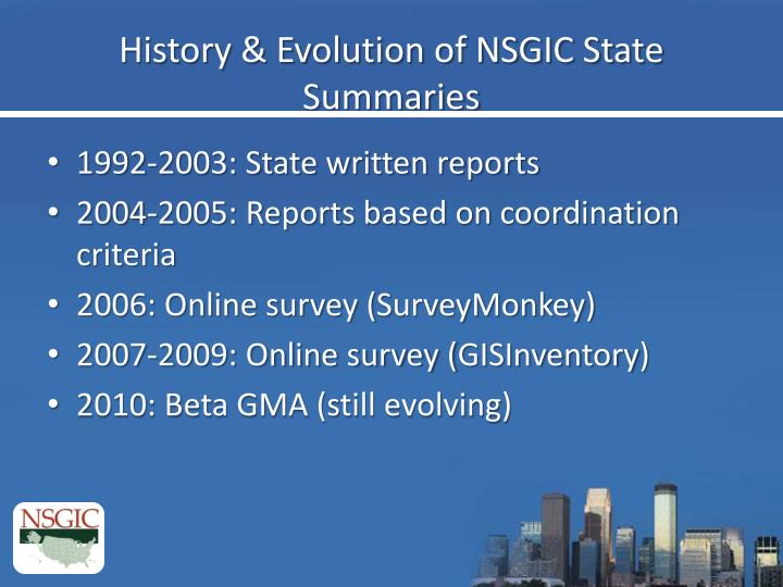 History & Evolution of NSGIC State Summaries
