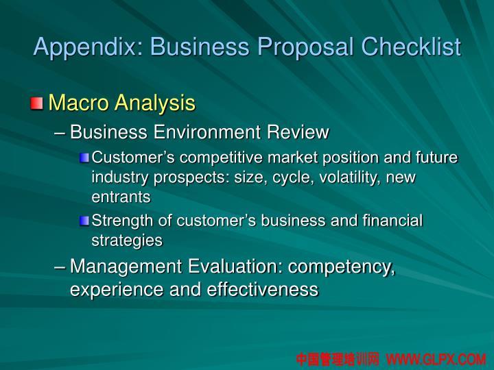 Appendix: Business Proposal Checklist