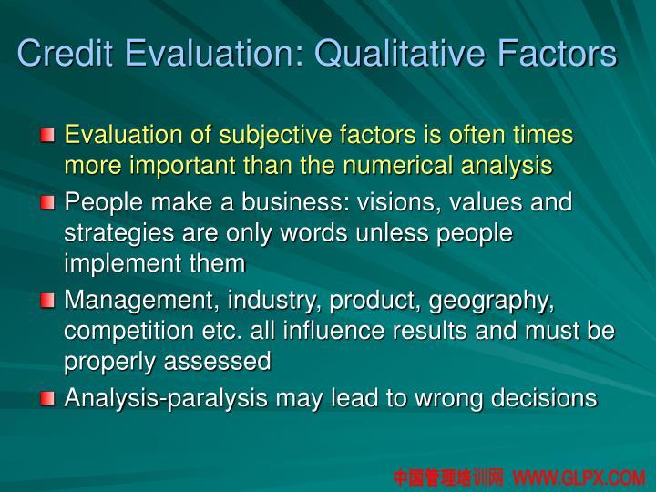 Credit Evaluation: Qualitative Factors