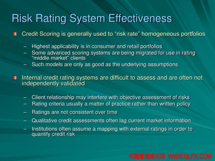 Risk Rating System Effectiveness