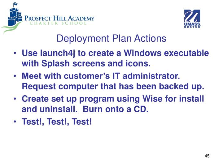 Deployment Plan Actions