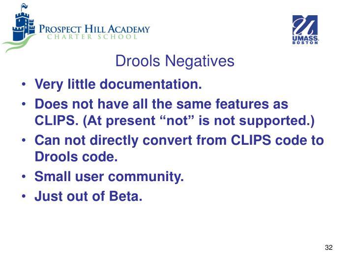 Drools Negatives