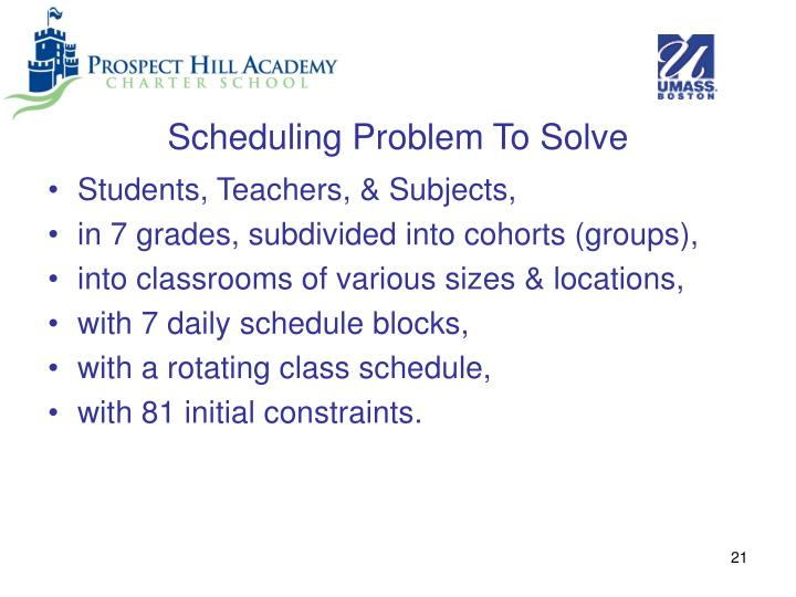 Scheduling Problem To Solve