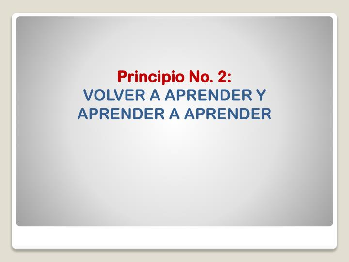 Principio No. 2: