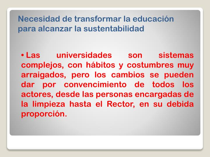 Necesidad de transformar la educación