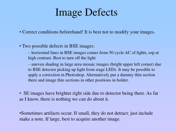 Image Defects