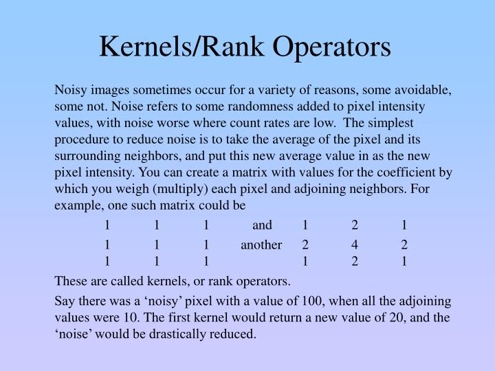 Kernels/Rank Operators