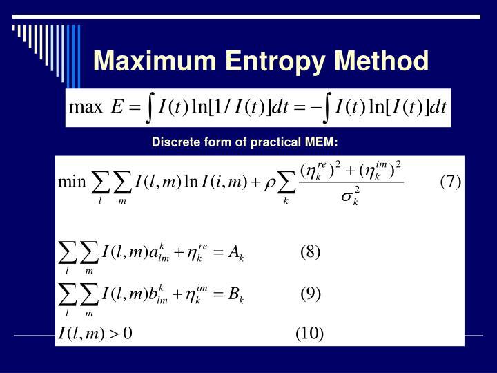 Maximum Entropy Method