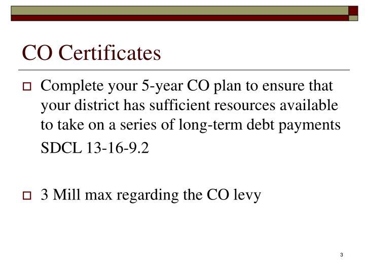 CO Certificates