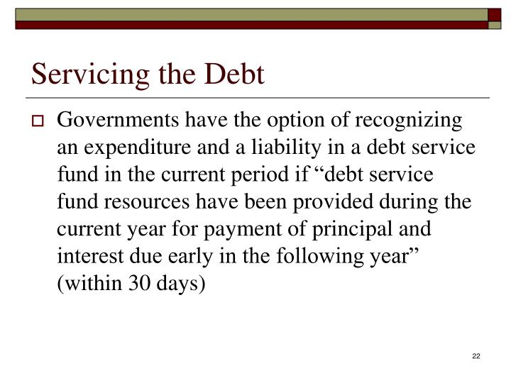 Servicing the Debt