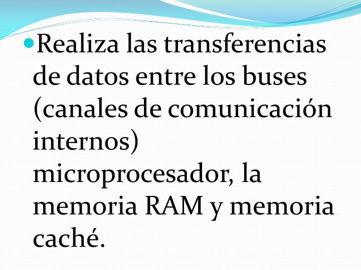 Realiza las transferencias de datos entre los buses (canales de comunicación internos) microprocesador, la memoria RAM y memoria caché.