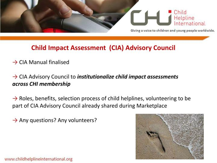 Child Impact Assessment  (CIA) Advisory Council