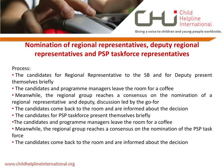 Nomination of regional representatives, deputy regional representatives and PSP taskforce representatives