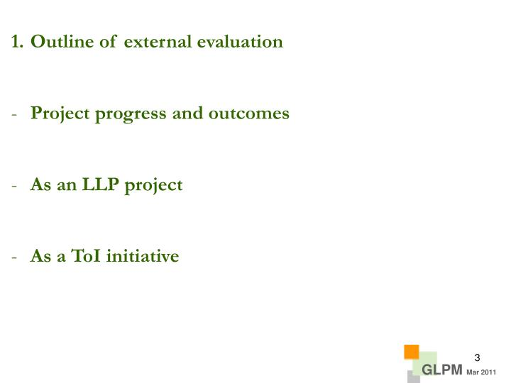 Outline of external evaluation