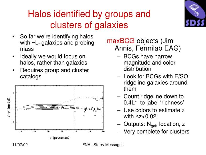 So far we're identifying halos with ~L
