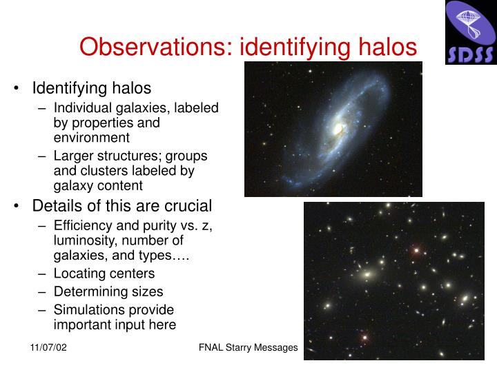 Observations: identifying halos
