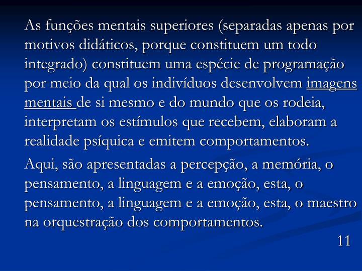 As funções mentais superiores (separadas apenas por motivos didáticos, porque constituem um todo integrado) constituem uma espécie de programação por meio da qual os indivíduos desenvolvem