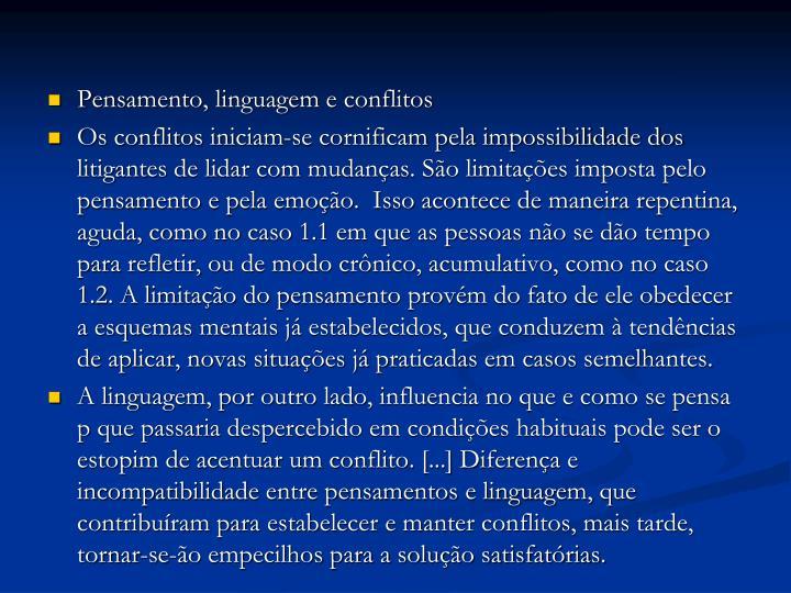 Pensamento, linguagem e conflitos