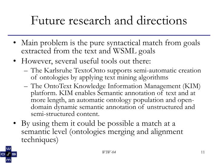 Future research and directions