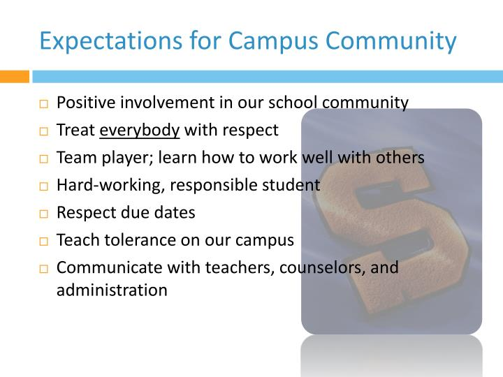 Expectations for Campus Community