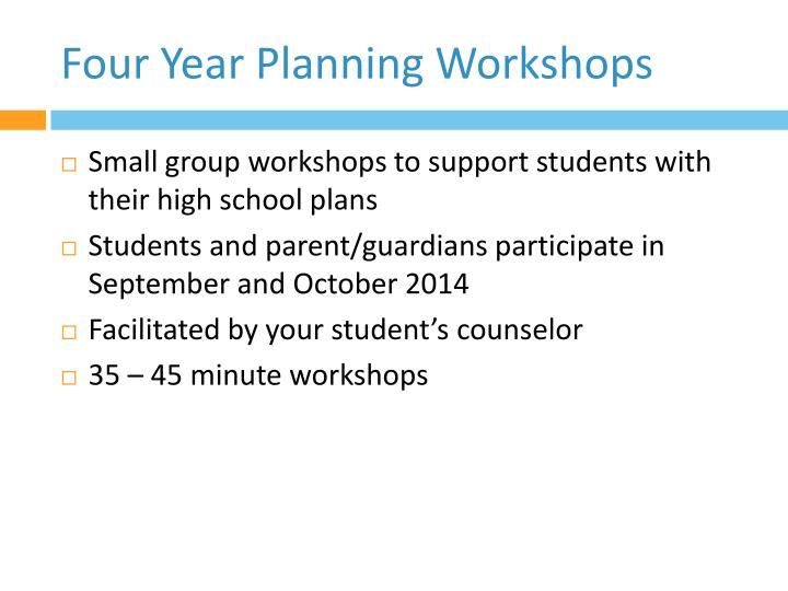 Four Year Planning Workshops