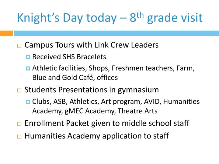 Knight s day today 8 th grade visit