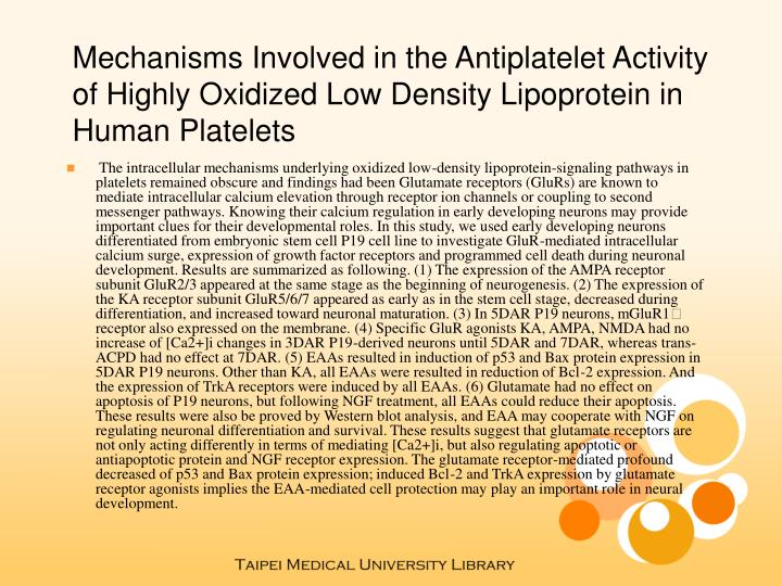 Mechanisms Involved in the Antiplatelet Activity of Highly Oxidized Low Density Lipoprotein in Human...