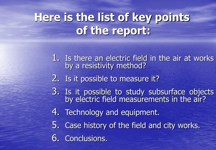 Here is the list of key points