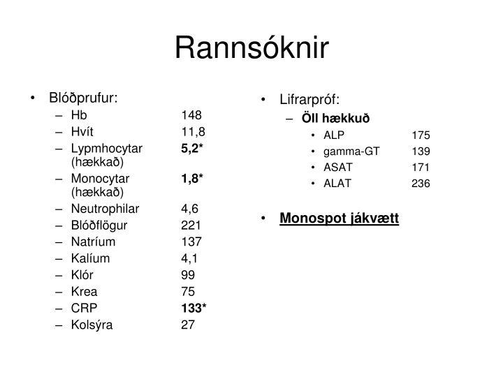Blóðprufur: