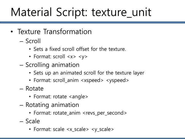 Material Script: texture_unit
