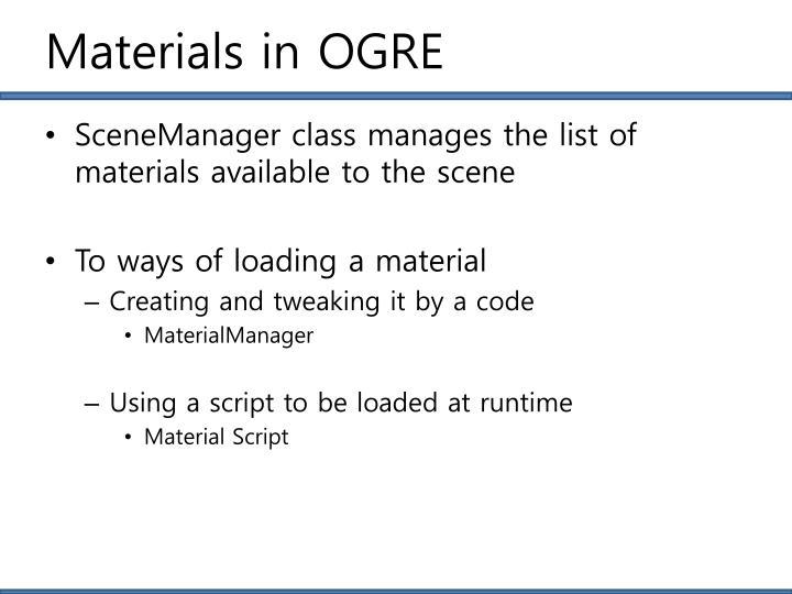 Materials in OGRE