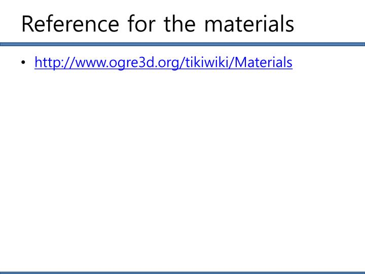 Reference for the materials