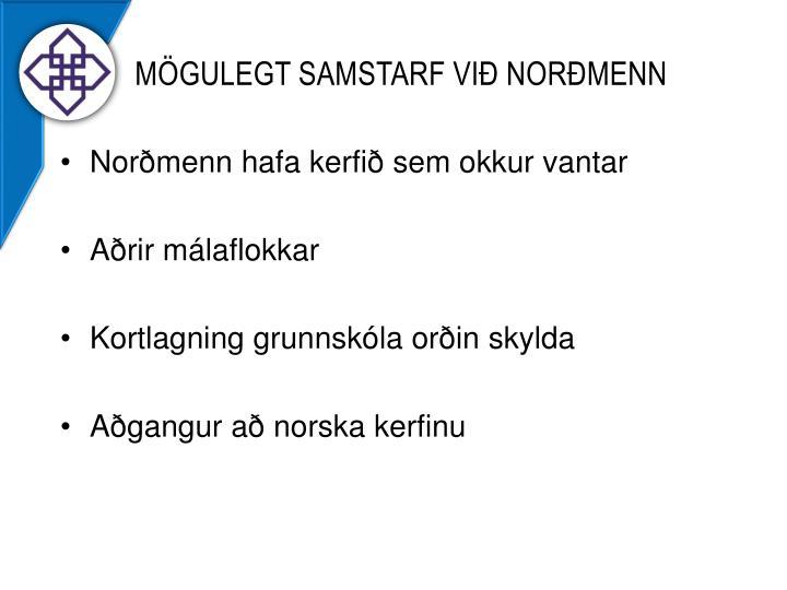 Mögulegt Samstarf við norðmenn