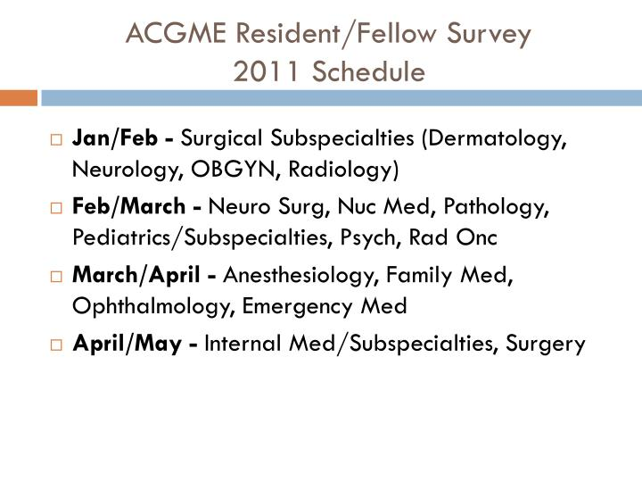 ACGME Resident/Fellow Survey