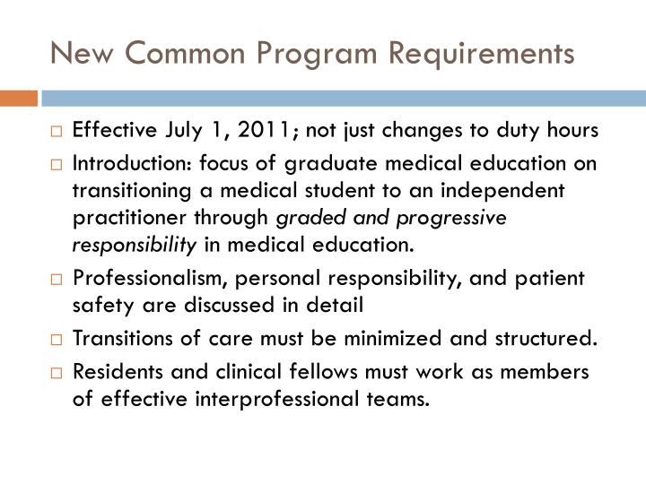 New Common Program Requirements
