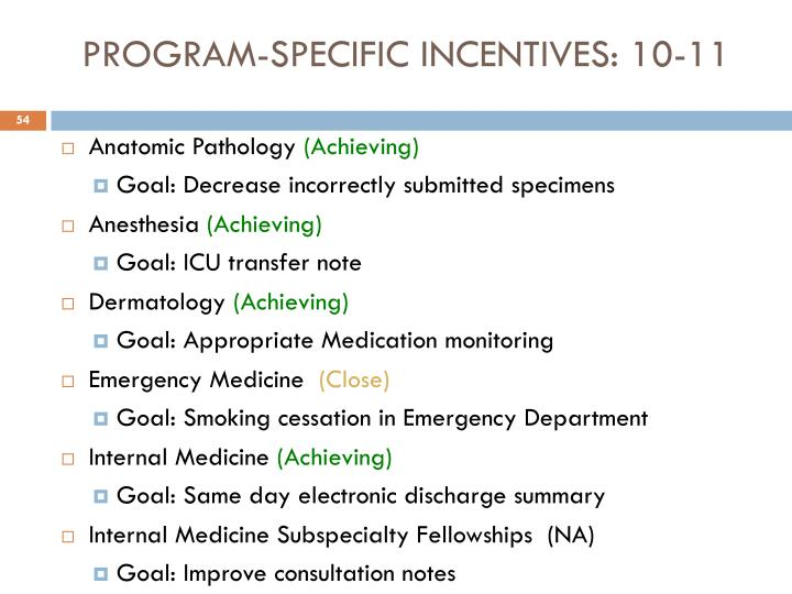PROGRAM-SPECIFIC INCENTIVES: 10-11