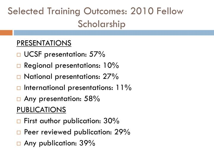 Selected Training Outcomes: 2010 Fellow