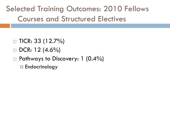 Selected Training Outcomes: 2010 Fellows
